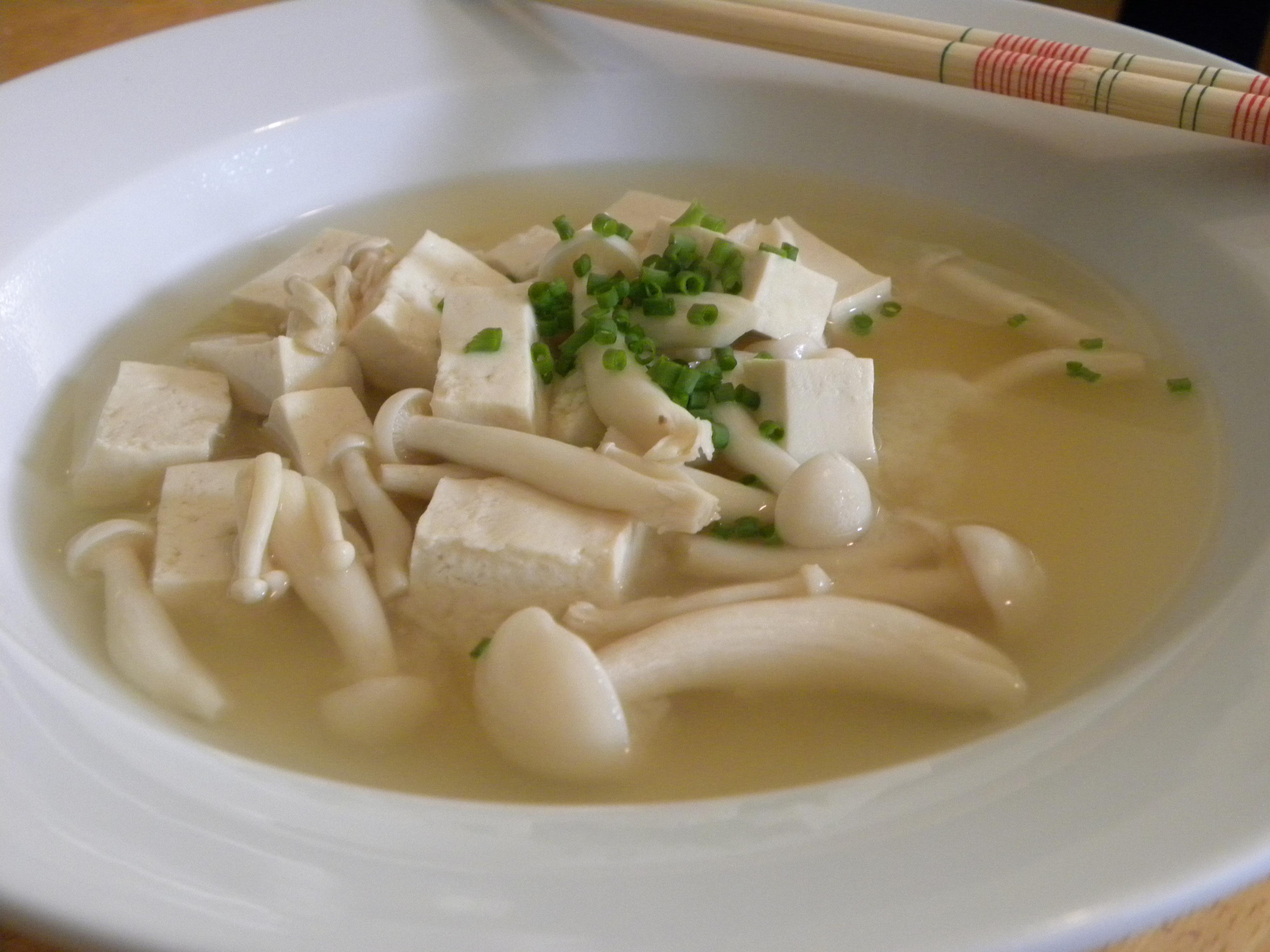 Miso and Bunapi Shimeji (White Beech Mushroom) Soup with Tofu ...